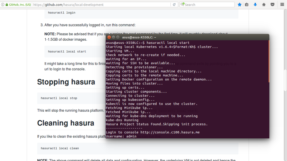 Output on running hasuractl local start